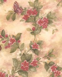 Mariposa Mauve Butterfly And Floral Trail by  Brewster Wallcovering