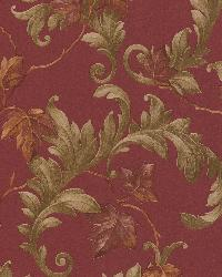 Alessia Red Scrolling Leaf by  Brewster Wallcovering