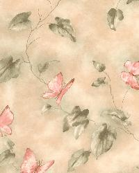 Heather Light Green Butterfly And Vines by  Brewster Wallcovering