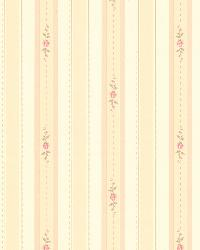 Rosette Beige Rosebud Stripe by  Brewster Wallcovering