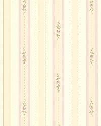 Rosette Lavender Rosebud Stripe by  Brewster Wallcovering