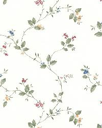 Olivia White Floral Trail by  Brewster Wallcovering