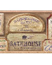 Bath House Pink Vintage Bath Border by