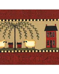 Sheep Friends Red Sheep Border by