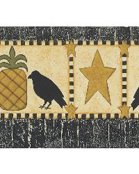 Poe Mustard Pineapples Birds And Stars Border by