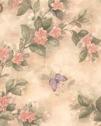 Lisa Peach Butterfly Floral  by