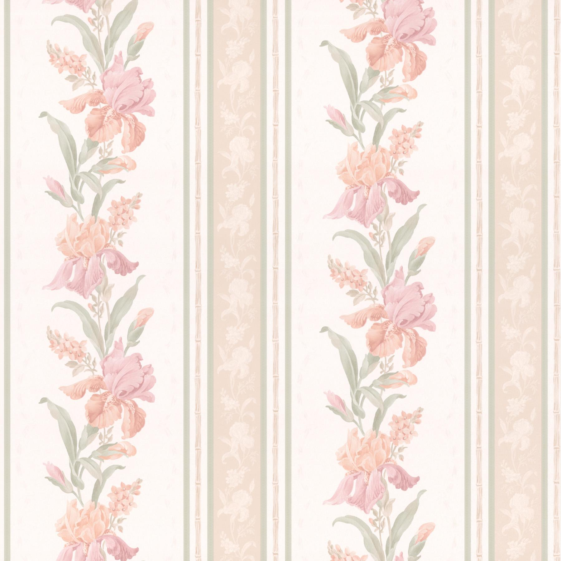 Brewster Wallcovering Peach Floral Stripe Wallpaper Wallpaper