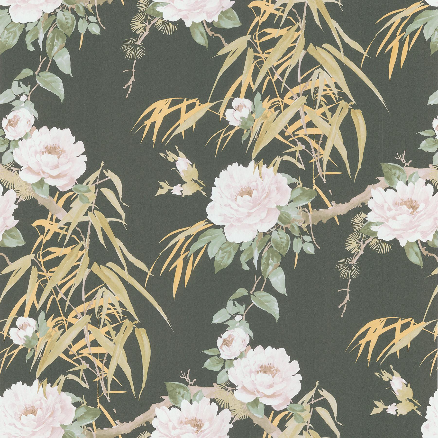 Brewster Wallcovering Dark Green Bamboo Floral Wallpaper Wallpaper