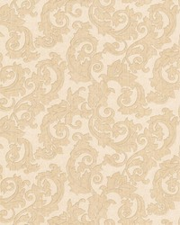 Fulham Beige Scrolls by  Brewster Wallcovering