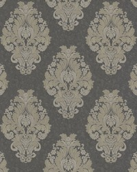 Bromley Charcoal Satin Damask by