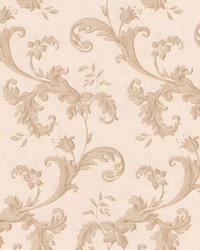 Isleworth Light Brown Floral Scroll by