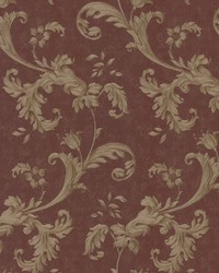 Isleworth Burgundy Floral Scroll by