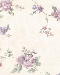 Mary Purple Floral Vine by  Brewster Wallcovering