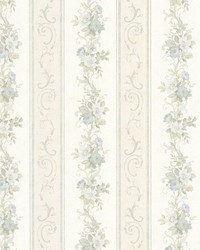 Lorelai Light Blue Floral Stripe by  Brewster Wallcovering