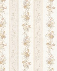 Lorelai Taupe Floral Stripe by  Brewster Wallcovering