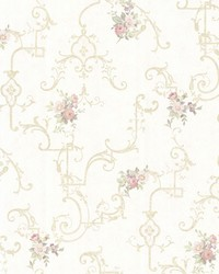 Lori Light Green Floral Trellis by  Brewster Wallcovering