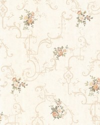 Lori Peach Floral Trellis by  Brewster Wallcovering