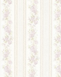 Tasha Lavender Satin Floral Scroll Stripe by