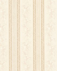 Trish Cream Satin Floral Scroll Stripe by  Brewster Wallcovering