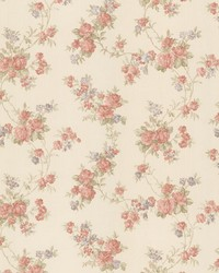 Tiffany Peach Satin Floral Trail by  Brewster Wallcovering