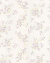 Tiffany Lavender Satin Floral Trail by  Brewster Wallcovering