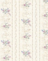 Maury Purple Floral Bouquet Stripe by  Brewster Wallcovering