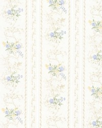 Maury Light Blue Floral Bouquet Stripe by  Brewster Wallcovering