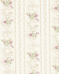 Maury Mauve Floral Bouquet Stripe by  Brewster Wallcovering