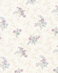 Marie Purple Delicate Floral Bouquet by  Brewster Wallcovering