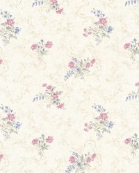 Marie Pink Delicate Floral Bouquet by  Brewster Wallcovering