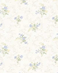 Marie Light Blue Delicate Floral Bouquet by  Brewster Wallcovering