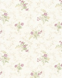 Marie Mauve Delicate Floral Bouquet by  Brewster Wallcovering