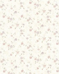 Alex Pastel Delicate Satin Floral Trail by  Brewster Wallcovering