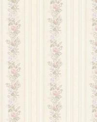 Alexis Pastel Satin Floral Stripe by  Brewster Wallcovering