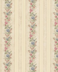 Alexis Beige Satin Floral Stripe by  Brewster Wallcovering