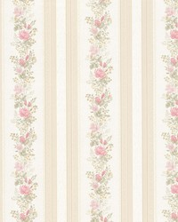 Alexis Pink Satin Floral Stripe by  Brewster Wallcovering