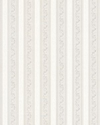 Kendra Platinum Scrolling Stripe by  Brewster Wallcovering