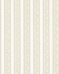 Kendra Taupe Scrolling Stripe by  Brewster Wallcovering