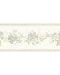 Lory Light Blue Floral Border by