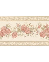 Tiff Peach Satin Floral Border by