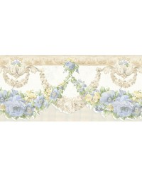 Marianne Light Blue Floral Bough Border by
