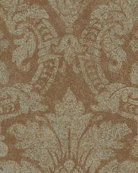 Cynthia Copper Distressed Damask Wallpaper by