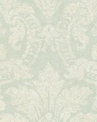 Cynthia Blue Distressed Damask Wallpaper by