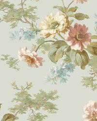 Julie Blue Floral Bouquet Wallpaper by