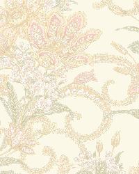 Wren Pink Jacobean Floral Mosaic Wallpaper by