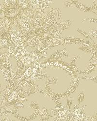 Wren Olive Jacobean Floral Mosaic Wallpaper by