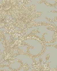 Wren Dark Blue Jacobean Floral Mosaic Wallpaper by