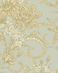 Wren Blue Jacobean Floral Mosaic Wallpaper by