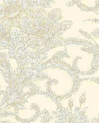Wren Cream Jacobean Floral Mosaic Wallpaper by