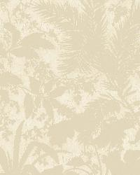 Fauna Beige Silhouette Leaves Wallpaper by